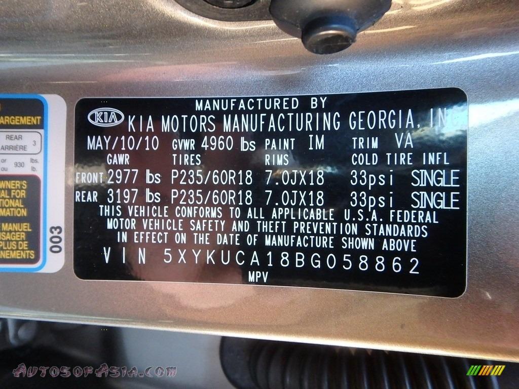 2011 Sorento EX AWD - Titanium Silver / Black photo #14