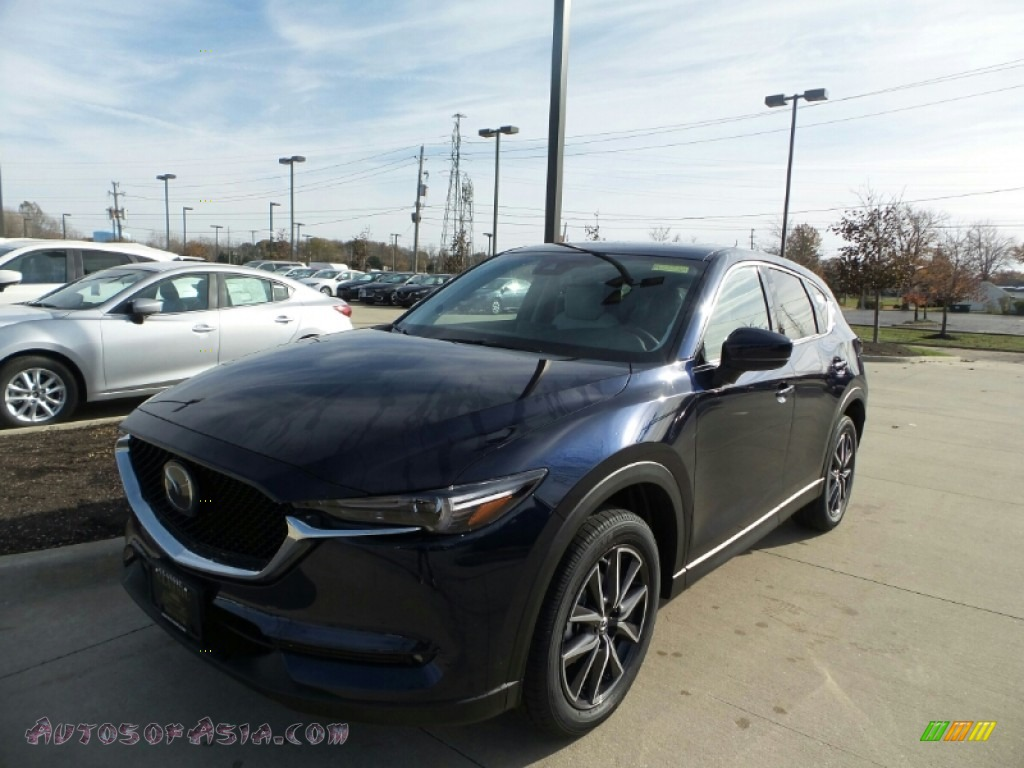 2017 CX-5 Grand Touring AWD - Deep Crystal Blue Mica / Parchment photo #1