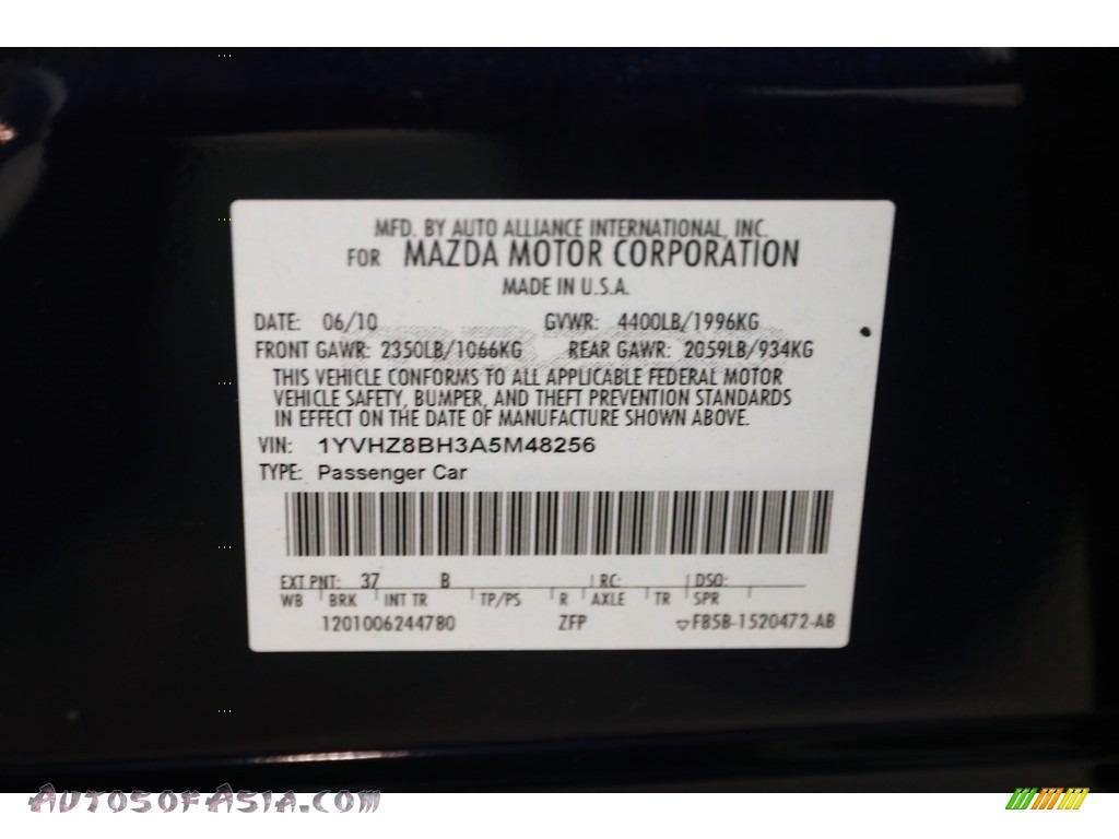 2010 MAZDA6 i Sport Sedan - Kona Blue Mica / Black photo #21
