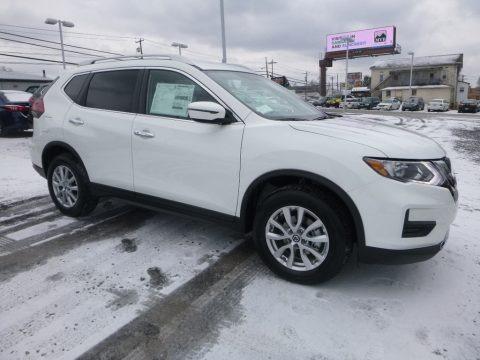 Glacier White 2018 Nissan Rogue SV AWD