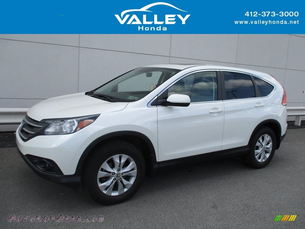 2014 CR-V EX AWD - White Diamond Pearl / Beige photo #1