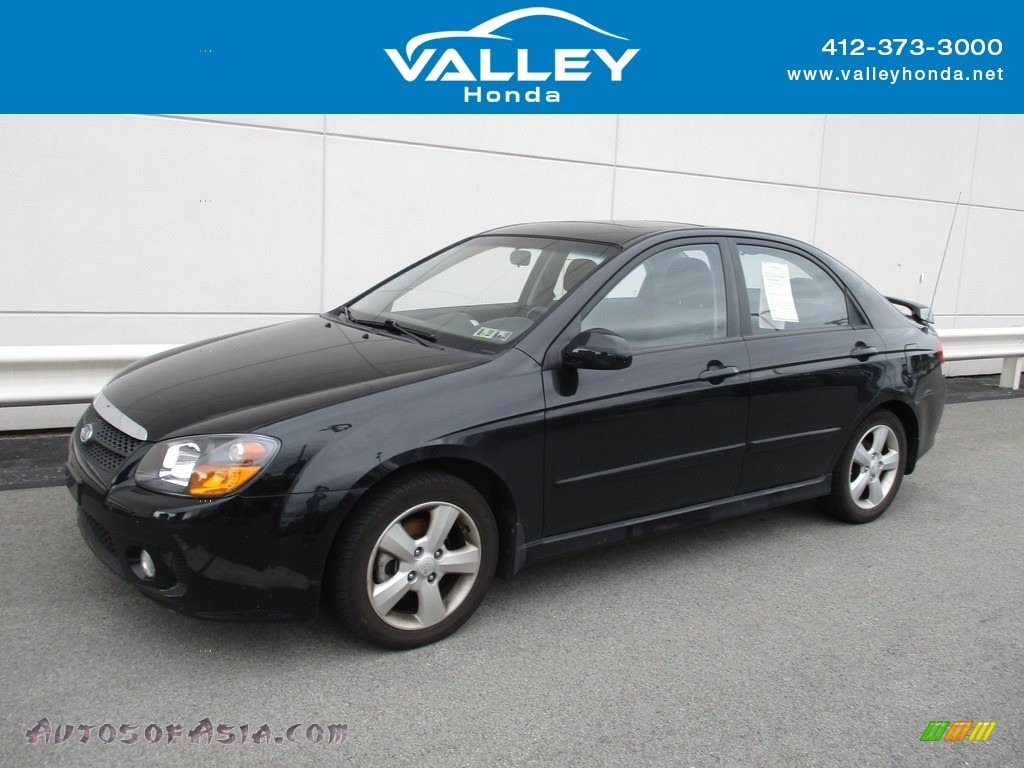2009 Spectra EX Sedan - Ebony Black / Gray photo #1