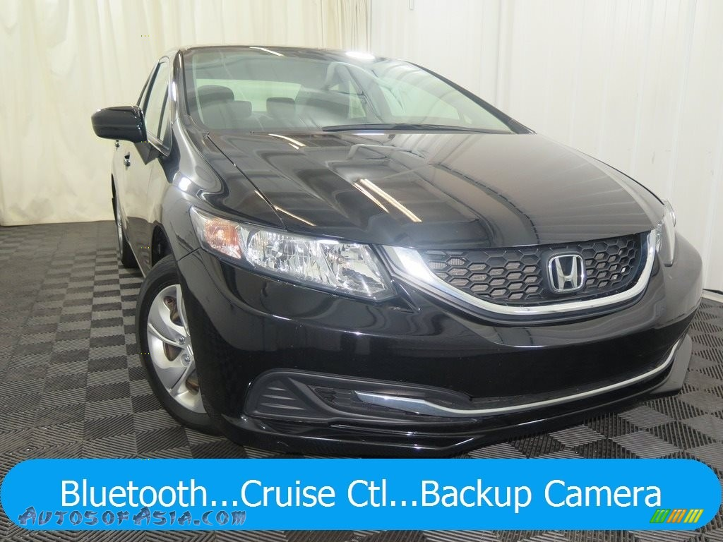 2014 Civic LX Sedan - Crystal Black Pearl / Gray photo #1