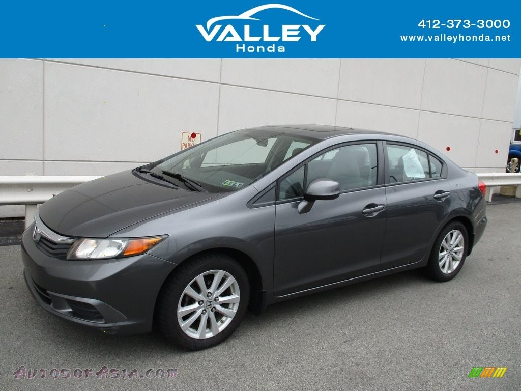 2012 Civic EX Sedan - Polished Metal Metallic / Gray photo #1