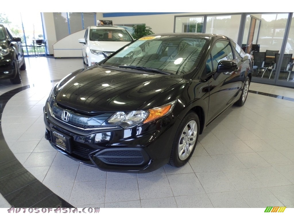 2014 Civic LX Coupe - Crystal Black Pearl / Gray photo #1
