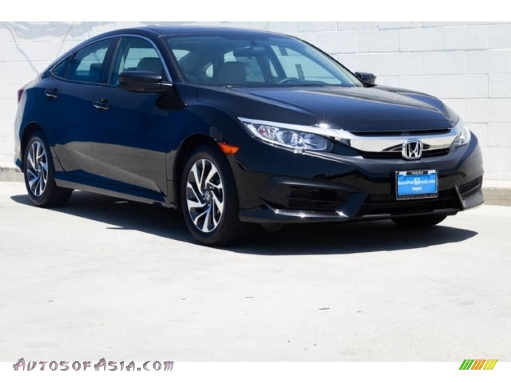 Crystal Black Pearl / Black/Ivory Honda Civic EX Sedan