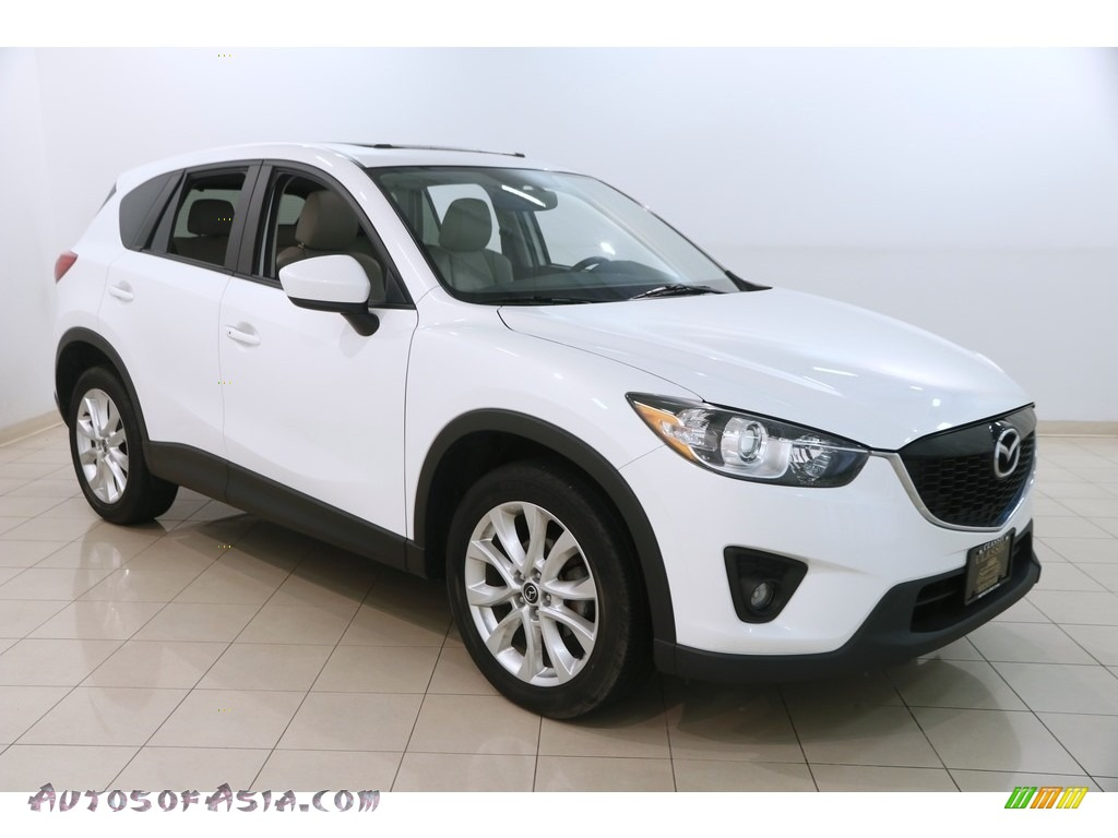 2013 CX-5 Grand Touring AWD - Crystal White Pearl Mica / Sand photo #1