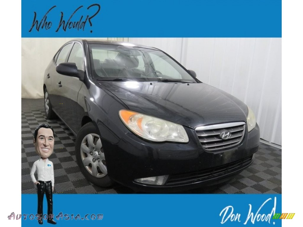 2008 Elantra GLS Sedan - Black Pearl / Gray photo #1