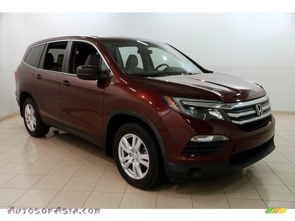 2016 Pilot LX AWD - Dark Cherry Pearl / Beige photo #1