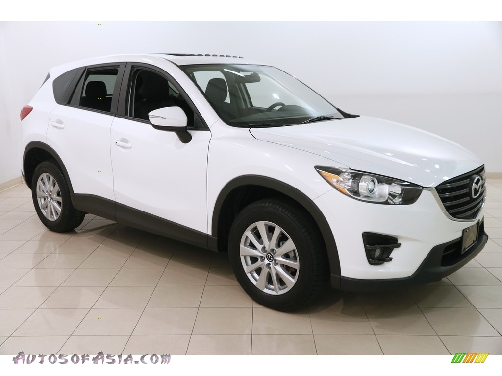 Crystal White Pearl Mica / Black Mazda CX-5 Touring AWD