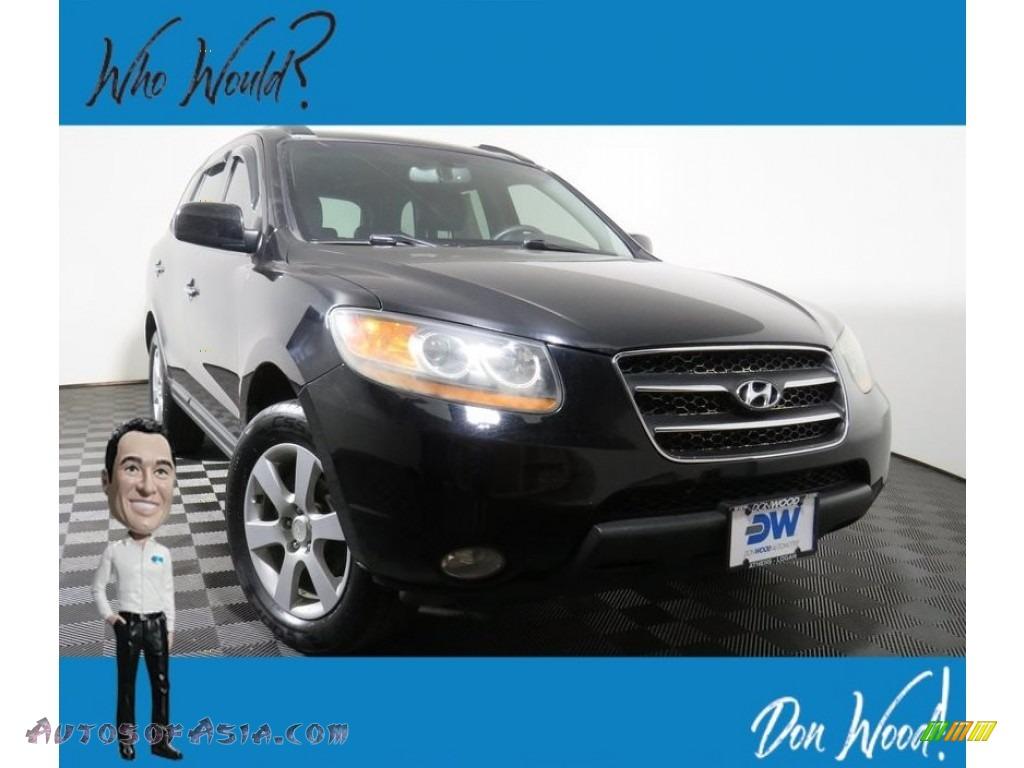2009 Santa Fe Limited 4WD - Ebony Black / Black photo #1