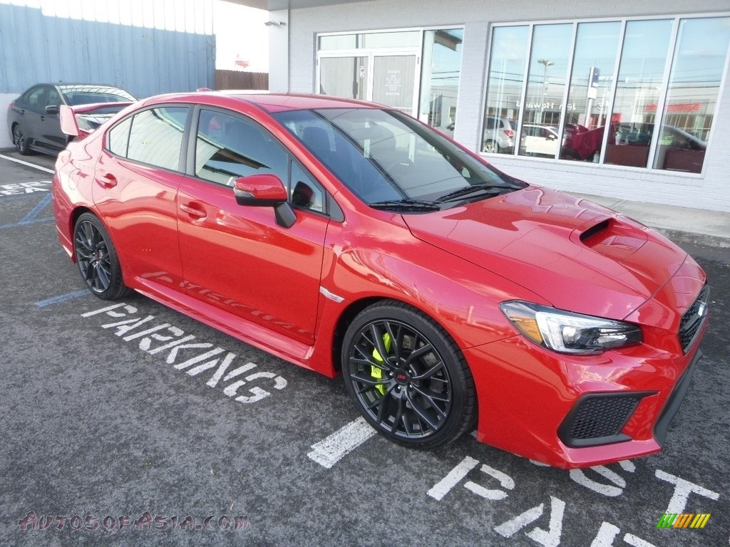 2019 WRX STI - Pure Red / Recaro Black Ultrasuede/Carbon Black photo #1