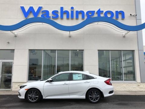 Platinum White Pearl 2019 Honda Civic EX Sedan