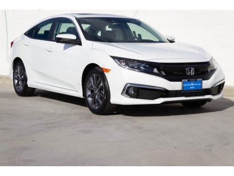 Platinum White Pearl 2019 Honda Civic EX Sedan