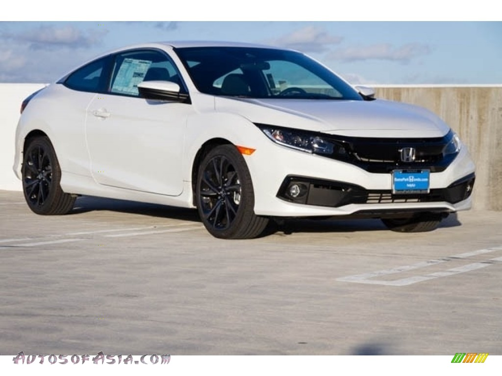 Platinum White Pearl / Black Honda Civic Sport Coupe