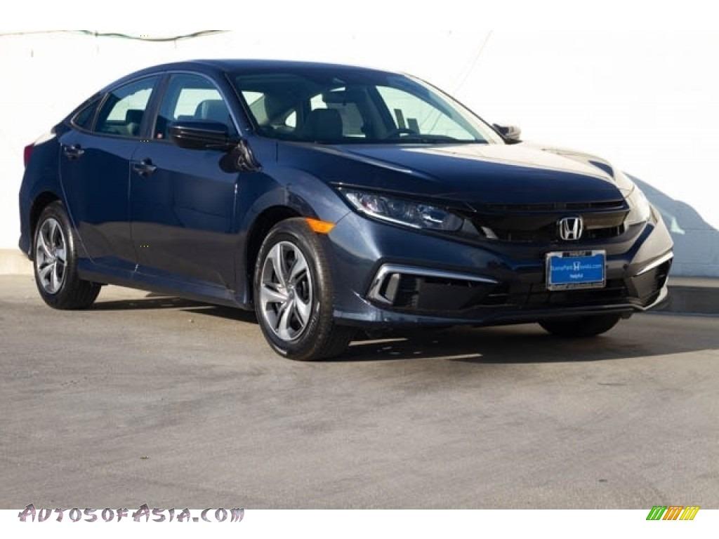 2019 Civic LX Sedan - Cosmic Blue Metallic / Gray photo #1