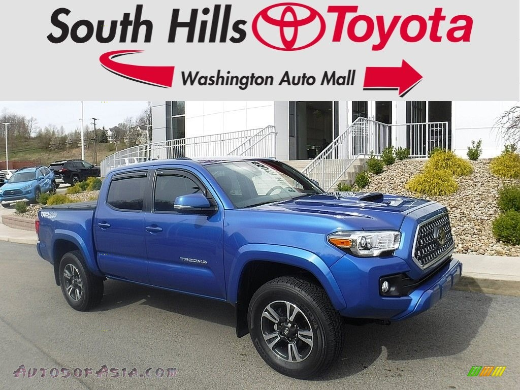 2018 Tacoma TRD Sport Double Cab 4x4 - Blazing Blue Pearl / Black photo #1