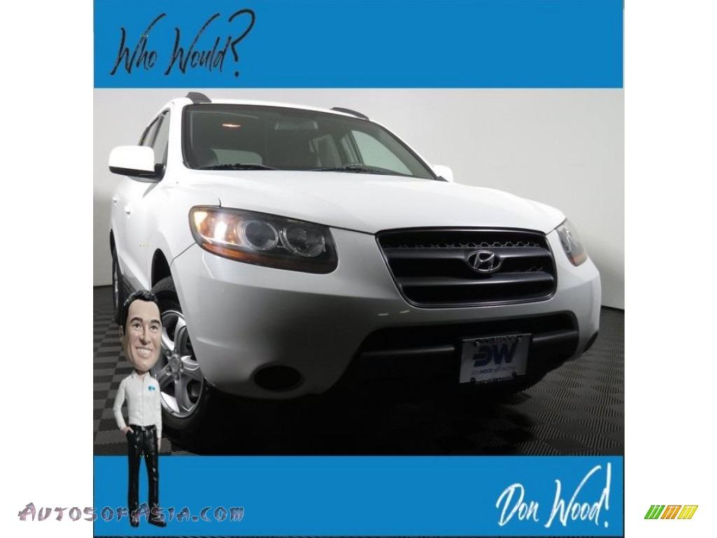 2008 Santa Fe GLS 4WD - Powder White Pearl / Gray photo #1