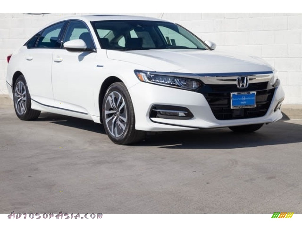 Platinum White Pearl / Black Honda Accord EX Hybrid Sedan