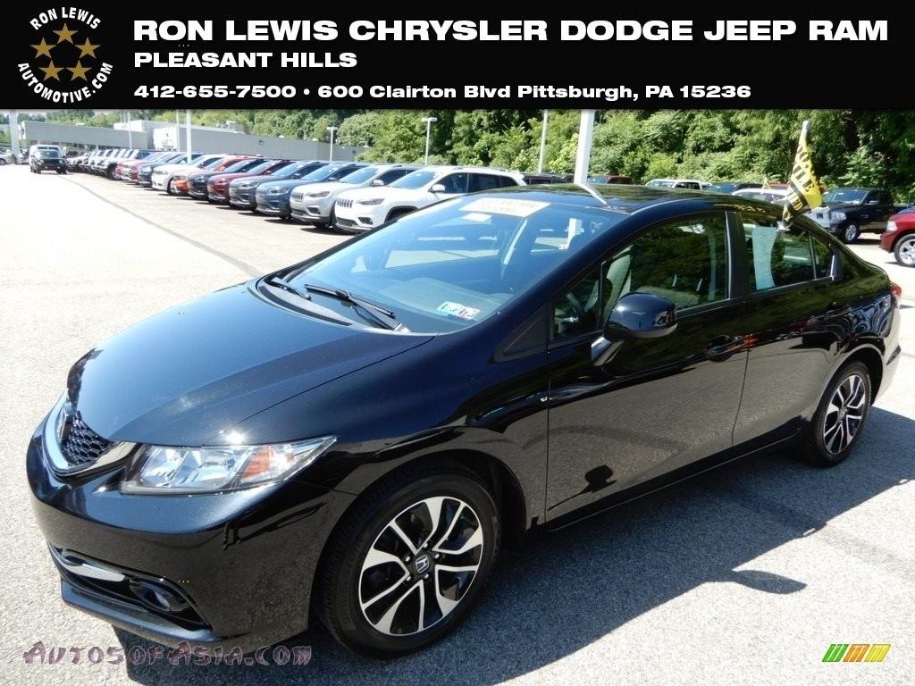 2013 Civic EX-L Sedan - Crystal Black Pearl / Black photo #1