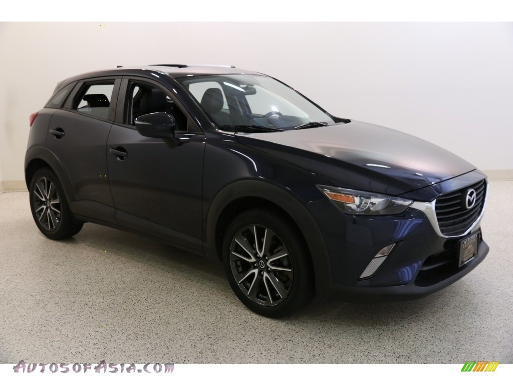 Deep Crystal Blue Mica / Black Mazda CX-3 Touring AWD