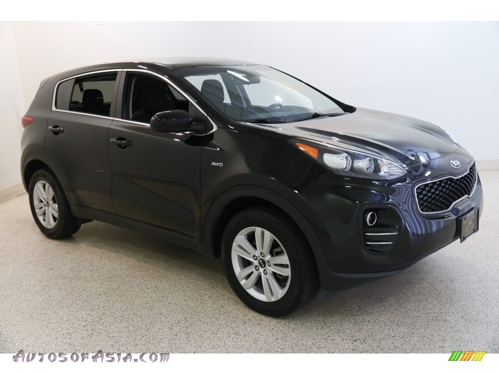 2017 Sportage LX AWD - Black Cherry / Black photo #1