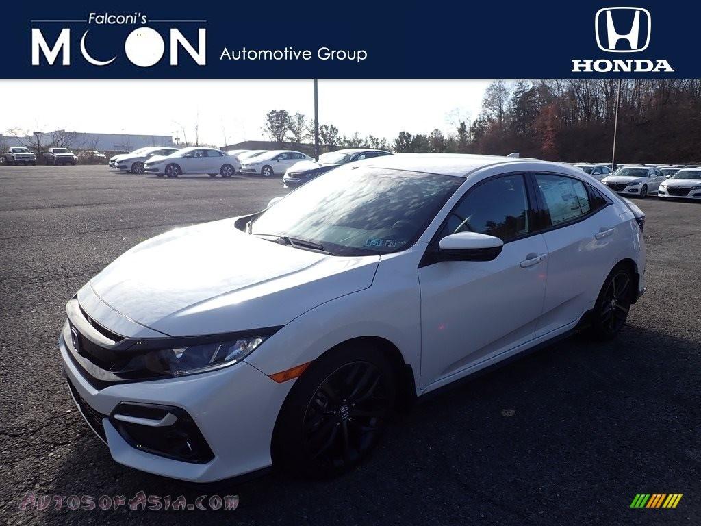 2020 Civic Sport Hatchback - Platinum White Pearl / Black photo #1