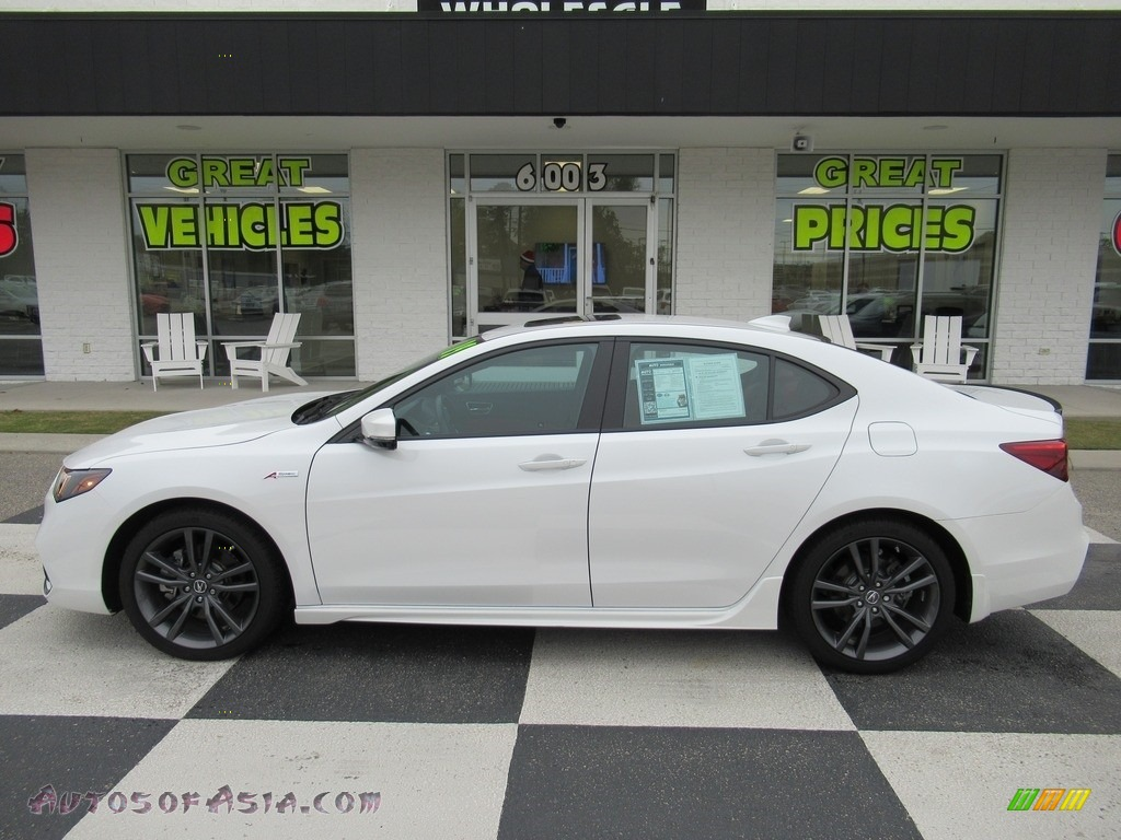 2019 TLX V6 A-Spec Sedan - Platinum White Pearl / Red photo #1