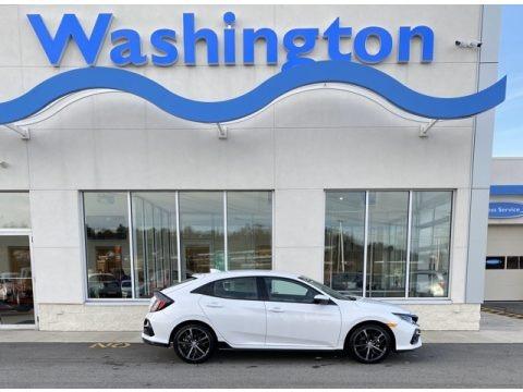 Platinum White Pearl 2020 Honda Civic Sport Hatchback
