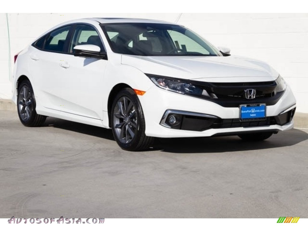 Platinum White Pearl / Black Honda Civic EX Sedan