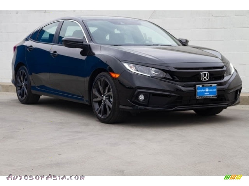 Crystal Black Pearl / Black Honda Civic Sport Sedan