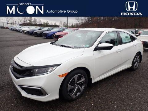 Platinum White Pearl 2020 Honda Civic LX Sedan
