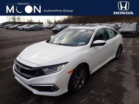Platinum White Pearl 2021 Honda Civic EX Sedan