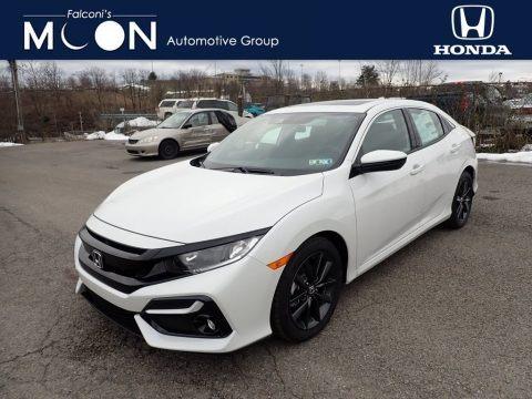 Platinum White Pearl 2021 Honda Civic EX Hatchback