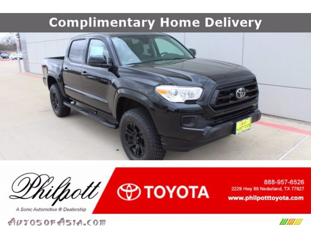 2021 Tacoma SR Double Cab - Midnight Black Metallic / Cement photo #1