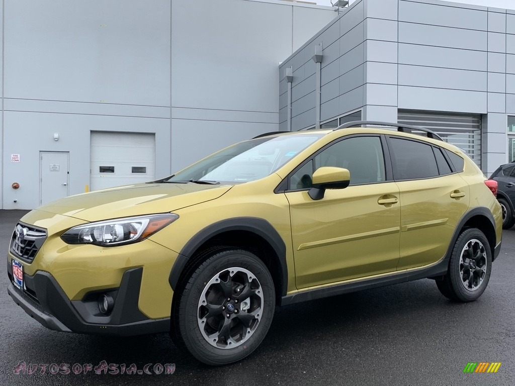 2021 Crosstrek Premium - Plasma Yellow Pearl / Black photo #1