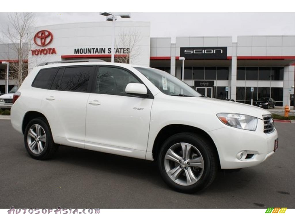 2008 toyota highlander sport 4wd in blizzard white pearl for sale 041936 autos of asia. Black Bedroom Furniture Sets. Home Design Ideas