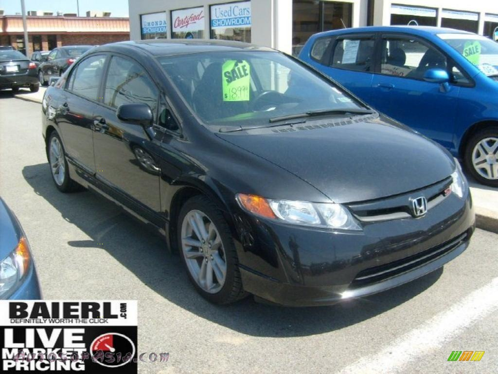 2007 honda civic si sedan in nighthawk black pearl 707080 autos of asia japanese and. Black Bedroom Furniture Sets. Home Design Ideas