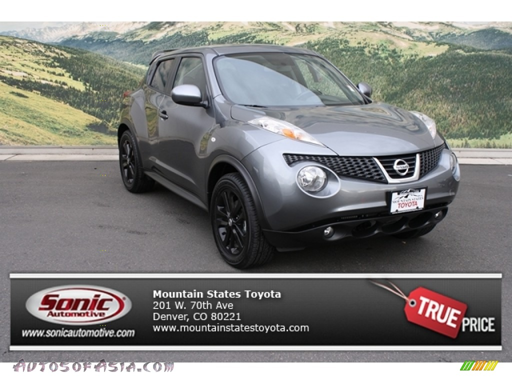 2012 Juke SL AWD - Gun Metallic / Black/Red Leather/Silver Trim photo #1