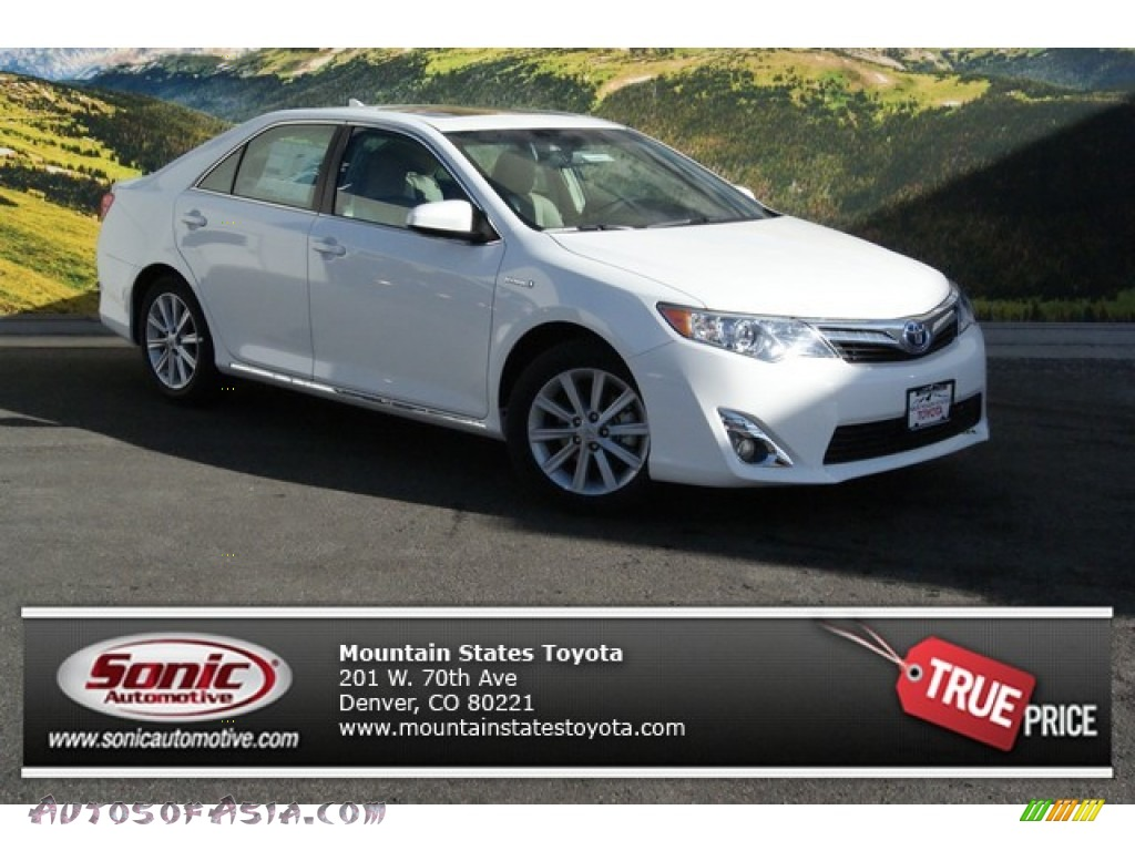 2014 toyota camry hybrid xle in super white 098430 autos of asia japanese and korean cars. Black Bedroom Furniture Sets. Home Design Ideas